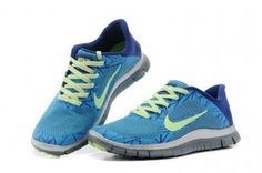 Nike Free 4.0 V3 Womens Shoes Blue Yellow