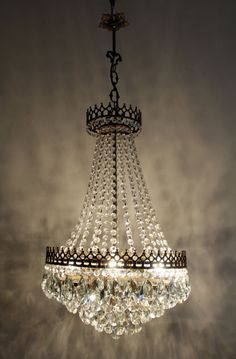 Vintage Antique French Basket Style Brass &  Crystals  Ceiling Lamp Chandelier
