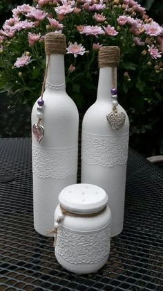 Gesso Altered Wine Bottle Craft