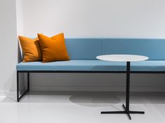 Modo bench with Poise table // The makings of a sleek reception room. via @davis_furniture