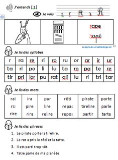 Étude du son [r] fiche de lecture fiche d'écriture fiche d'exercices Language Acquisition, French Classroom, French Immersion, Teaching French, School Resources, Learn French, Word Work, Early Learning, Comprehension