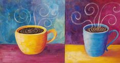 Coffee Cups Acrylic Painting Tutorial by #angelafineart on #YouTube #Painting #art