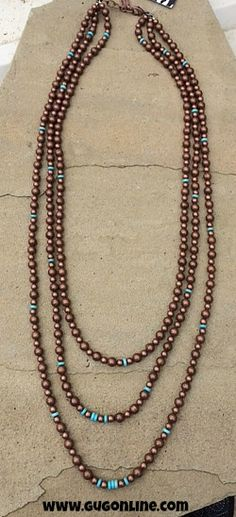 Long Three Strand Copper Necklace with Hints of Turquoise $44.95 www.gugonline.com