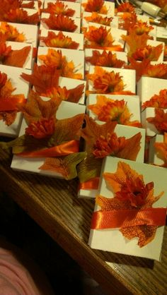 Favors for a fall bridal shower - maybe boxes of chocolates or something else little? Bars of scented soap?