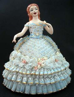 Artist Signed Porcelain Southern Belle Girl in the Dresden Lace Style!