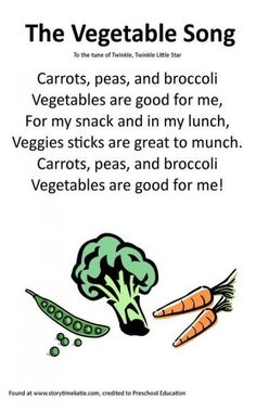 Itty Bitty Rhyme: The Vegetable Song - Santé des Enfants Preschool Charts, Preschool Food, Preschool Music, Preschool Education, Preschool Activities, Pool Activities, Preschool Winter, Circle Time Songs, Songs For Toddlers