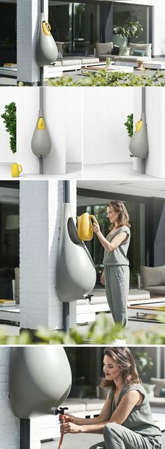 This Bulbous Rain Barrel Design Makes It Easy To Collect Rainwater Dieses bauchige Regenfass-Design Chalet Design, House Design, Bulbous Plants, Water From Air, Water Collection, Rainwater Harvesting, Design Firms, Backyard Landscaping, Outdoor Living