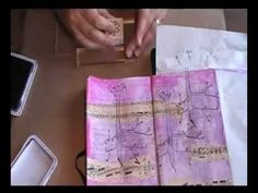 Smell the flowers... art journaling - YouTube. interesting concepts: preping background and using stencil as placeholder for a cut-out version