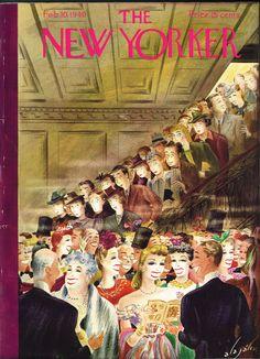 Magazine The new Yorker maakte ook erg veel gebruik van aantrekkelijke composities zodat mensen de magazine eerder kochten. Ik zie deze afbeelding als goede inspiratie omdat de voorkant van je boek eruit moet springen! Met het gebruik van goede compositie licht kleur en typografie maak je hier een aantrekkelijke cover.   The New Yorker Feb. 10, 1940