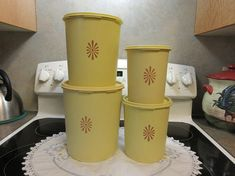 Set Of Four Harvest Yellow Tupperware Canisters 1970 Tupperware Canisters, Small One, Harvest, Planter Pots, Yellow, Etsy, Design