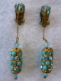 Long Vintage Dangle Clip Back Earrings Faux Turquoise Blue Rhinestones Crystals