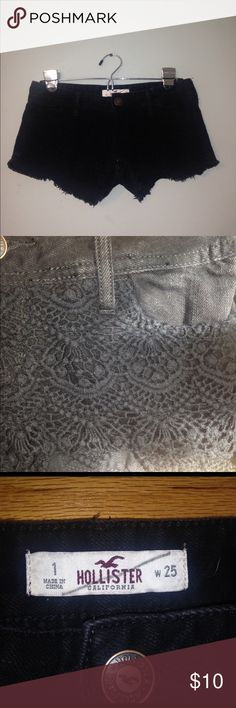 Size 1 Hollister Black Lace Jean Shorts Barely worn black lace covered Jean shorts from brand Hollister. Offers Welcome! Hollister Shorts Jean Shorts