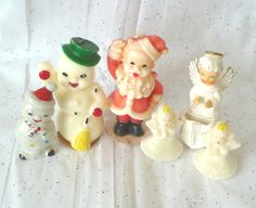 $30.00 Vintage 1950s/1960s collection of 6 items: 2 snowmen, a Santa and 3 angels ~ ceramics and unburned candles.  Gurley Novelty Co. 4 candles and 2 Japan ceramics, one Dawar.  Perfect table, console or mantle decorations.   Thoughtful host or hostess unique gifts.  For sale at paroliro on ETSY.
