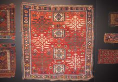 """Square Tree Kazak - Sold at James Cohen London.Size: 5'8"""" x 6' / 175 x 185 Date (circa): 2nd quarter 19th century  Tree Kazak's often have a rather weak range of colours, and a limited range. This example has a gloriously rich range of colours and is very nearly square.  I believe this kazak to be from the first half of the 19th century. In good pile, with some worn areas and ragged sides."""