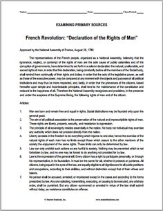 """DBQ: """"Declaration of the Rights of Man"""" French Revolution Printable with Questions 