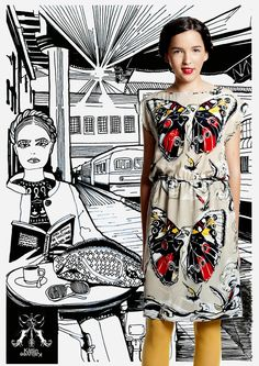 handmade drawn print design + dress + ilustration by Kätlin Kaljuvee