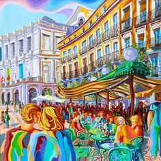 PLAZA DE ORIENTE (MADRID).Huile sur toile. 80 x80 x 3,5 cm.