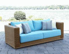 Patio Wicker Sofa via @wickerparadise #outdoor #wicker #sofas www.wickerparadise.com