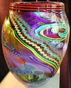 James Nowak Masonic Art Glass Aquarium Urn