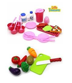 Miniature Playset for Girls 2 in 1 Pretend play includes a Vegetable set and a Dishes Food set >>> Details can be found by clicking on the image.Note:It is affiliate link to Amazon.