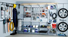 Thoughts and garage organization hacks. Incredibly simple garage storage and org. Thoughts and garage organization hacks. Incredibly simple garage storage and organization hacks you Garage Wall Storage, Garage Storage Systems, Garage Shelving, Shelving Systems, Tool Storage, Elfa Shelving, Storage Shelves, Ikea Storage, Room Shelves