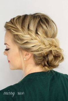 Braided updo hairstyle for thin hair  http://www.hairstylo.com/2015/07/hairstyles-for-thin-hair.html