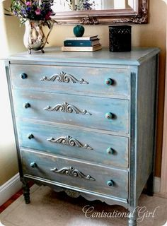Oh my beautiful! Great site on refurbishing nasty furniture... Gosh I love making ugly things pretty!