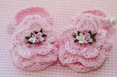Crochet+Baby+Sandals+Free+Patterns | cc21a-Flowered Cotton Baby Sandals Pattern