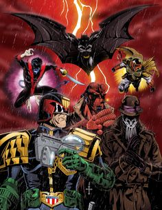 Justice is Coming (with Night Crawler, Batman, Boba Fett, Judge Dredd, Hellboy and Rorschach) by TimelessUnknown on DeviantART