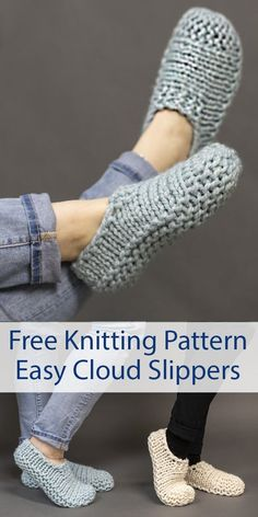 Free Knitting Pattern for Easy Cloud Slippers Knit Flat - Easy beginner slippers. Knitting , Free Knitting Pattern for Easy Cloud Slippers Knit Flat - Easy beginner slippers. Free Knitting Pattern for Easy Cloud Slippers Knit Flat - Easy beg. Knit Slippers Free Pattern, Knitted Slippers, Slipper Socks, Knitted Bags, Free Crochet Slipper Patterns, Crochet Slipper Boots, Knitted Bunnies, Crochet Shoes Pattern, Knitted Washcloths