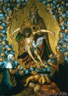 Lucas Cranach der Ältere - Die Dreifaltigkeit, verehrt von Maria und Sebastian