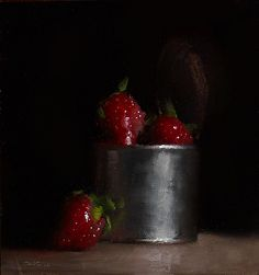 Can of Strawberries by artist Neil Carroll. An impressive #stilllifepainting found on the FASO Daily Art Show - http://dailyartshow.faso.com