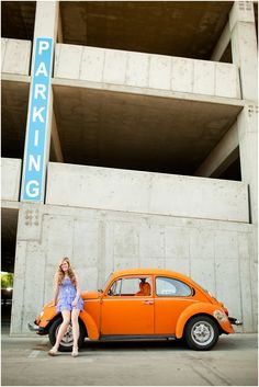 #senior #girl #colorado #orange #vw bug | photo by cat mayer studio