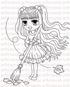 Digital StampAutumn Leaves Digi Stamp Coloring page by artbymiran, $3.00