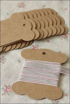 Template to make your own ribbon or thread holders from cardboard or fabric covered cardboard.
