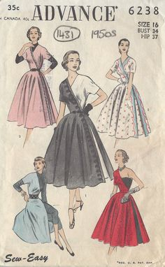 1950s Vintage Sewing Pattern DRESS B34 1431 Advance by tvpstore
