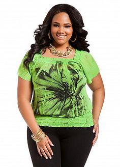 bdeab1773c8 Ashley Stewart Women s Plus Size Floral Print Peasant Top Lime Rickey 12