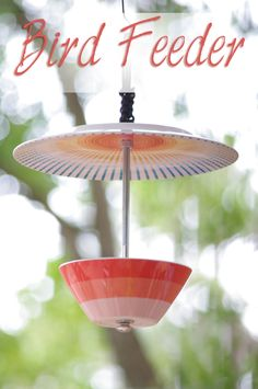 Bird Feeder from a plate and bowl.  There are all kinds of combinations that this idea could inspire.  Kids could make these for Grandparents and Great Grandparents for Christmas - need garage sale plates and bowls