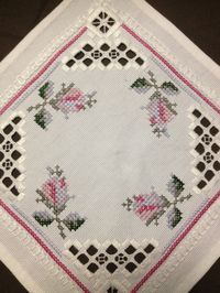 Small Hardanger embroidered linen tablecloth. by Inspiria on Etsy