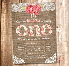 Alice in Wonderland Bridal Shower Invitation Vintage Digital