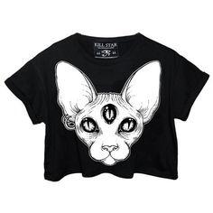 Third Eye Crop Top KILLSTAR #grunge modern goth #triple three-eyed Sphynx hairless cat