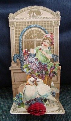 German Valentine Day Card Vintage Victorian Die Cut Embossed Fold Out Pop Up | eBay