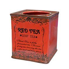 Maceta de ceramica cuadrada roja estilo vintage de 14x14x15.8cm
