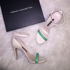 """French Connection Cream & Green Heels Brand new French Connection size 8.5 heels in cream/green. Heels is 3.5"""" inches. Comes in original box. French Connection Shoes Heels"""