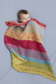 Free Knitting Pattern 90078AD Sunshine Day Baby Throw : Lion Brand Yarn Company