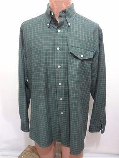 L.L. Bean Green Plaid Button-Down Long-Sleeve Cotton Blend Shirt 17-36 USA Made #LLBean #DressShirt