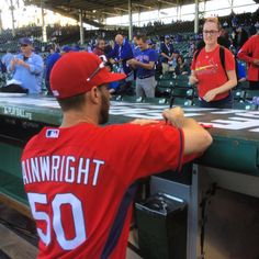 """""""Wainwright finds a red-shirted fan in the crowd. Provides autograph. #cardinals #NLDS"""""""