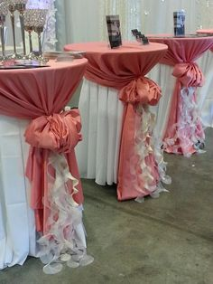 Table Covers and More showcasing new linens at Bridal Extravaganza of Atlanta | pink and white ruffled wedding inspiration + such a fun way to dress up cocktail hour or high boy tables