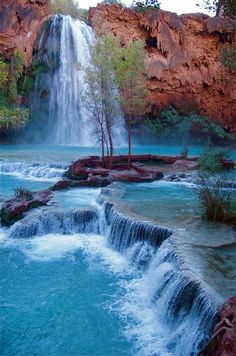 It's a 9 mile hike in from the top of the Grand Canyon. Havasu Falls, Havasupai Indian Reservation, Arizona