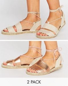 ASOS JANICA Two Pack Sandal Espadrilles